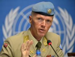 Maj. Gen. Robert Mood, outgoing head of the U.N. Supervision Mission in Syria, speaks during a news conference held at the United Nations in Geneva June 22.
