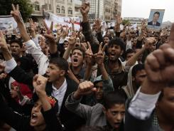 Protesters chant slogans demanding that the relatives of former President Ali Abdullah Saleh be fired from army and police posts during a demonstration in Sanaa.