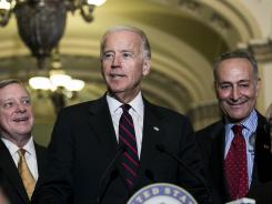 Vice President Joe Biden speaks at a press conference Wednesday after a 54-45 vote against a House bill that would include the wealthiest Americans in an extension of the Bush-era tax cuts.