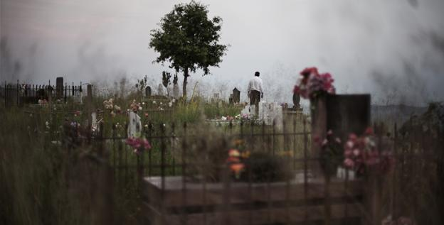 A cemetery sits on the top of a hill in the neighborhood of Peze Helmes on the outskirts of Tirana, Albania.