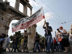 A June protest in Athens against austerity measures.