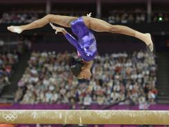 'The flying squirrel': U.S. gymnast Gabby Douglas competes Sunday in London.