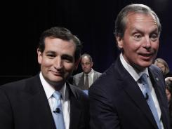 Ted Cruz, left, beat David Dewhurst for chance to run in November for Senate.