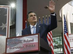 Mitt Romney speaks in Warsaw on Tuesday.