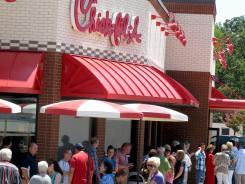 Customers in line at a Chick-fil-A on Aug. 1, in Longview, Texas.