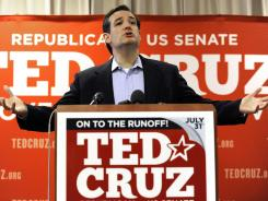 Texas GOP Senate candidate Ted Cruz speaks Wednesday in Houston.