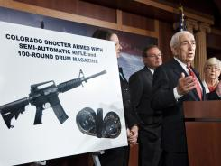 Sen. Frank Lautenberg, D-N.J., on July 24 criticize the sale of high-capacity magazines for assault rifles that are sold to the public.