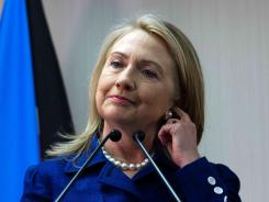 Hillary Clinton speaks during press conference Friday with South Sudan's Foreign Minister in Juba.