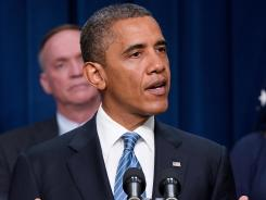 President Obama speaks from the Eisenhower Executive Office Building in Washington on Friday.