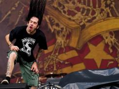 This picture taken Aug. 2, 2009, shows Randy Blythe performing at the Sonisphere rock festival in the U.K.