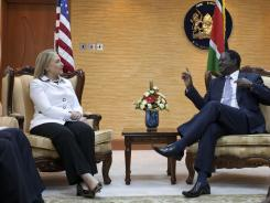 Hillary Clinton met with Kenya's Prime Minister Raila Odinga at the Prime Ministers office in Nairobi on Saturday.
