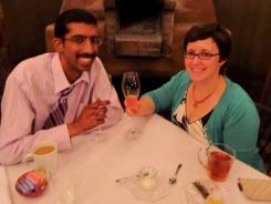 Arijit Guha, an Arizona State University student battling advanced colon cancer, is shown with his wife Heather.