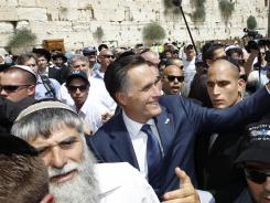 Visiting Jerusalem: Republican presidential candidate Mitt Romney at the Western Wall on July 29, part of his trip overseas.