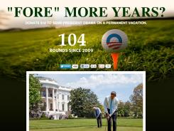 An official Romney campaign site calls attention to the golfing habits of President Obama.
