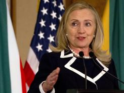 U.S. Secretary of State Hillary Rodham Clinton speaks at the U.S.-South Africa Business Partnership Summit in Johannesburg, South Africa, on Monday.