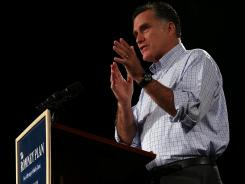 Mitt Romney speaks at a campaign event in Des Moines on Wednesday.