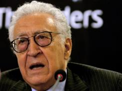 Algeria's former foreign minister Lakhdar Brahimi speaks at a press conference following a meeting with Sudanese President Omar al-Bashir in Khartoum in May.