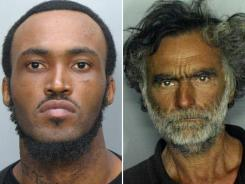 This combination of undated photos made available by the Miami-Dade Police Dept. shows Rudy Eugene, 31, left, whom police shot and killed as he ate the face of Ronald Poppo, 65, right, during a May 26 attack.