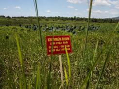 A warning sign stands in a field contaminated with dioxin near Danang airport.