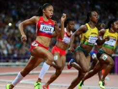 Allyson Felix competes in London on Wednesday.