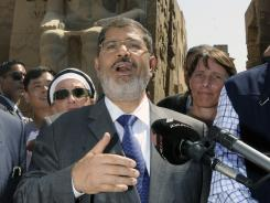 Egyptian President Mohammed Morsi visits the Luxor temple in Luxor, Egypt.