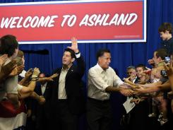 New running partners Paul Ryan and Mitt Romney on Saturday in Ashland, Va.