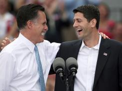 GOP presidential candidate Mitt Romney introduces his running mate, Rep. Paul Ryan, Saturday in Norfolk, Va.