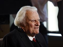 Billy Graham is interviewed at the Billy Graham Evangelistic Association headquarters in Charlotte, N.C.