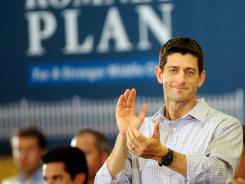 "GOP vice presidential candidate Rep. Paul Ryan makes a campaign stop Sunday in High Point, N.C. Ryan, 42, is co-founder of the House's ""Young Guns"" program."