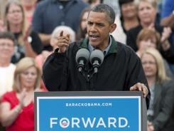 President Obama speaks during a campaign stop in Council Bluffs, Iowa, on Monday.