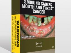 2011 file photo shows proposed cigarette packaging stripped of all logos and replaced with graphic images that tobacco companies in Australia will be forced to use.