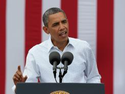 President Obama speaks at a campaign rally in Dubuque, Iowa, on Wednesday.