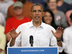 President Obama speaks during a campaign stop Tuesday in Marshalltown, Iowa.