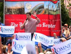 At the Iowa State Fair: Republican vice presidential candidate Paul Ryan campaigns in Des Moines on Monday. Hecklers in the crowd tried to jump on stage with Ryan.