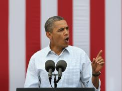 President Obama speaks at a campaign rally August 15, in Dubuque, Iowa.