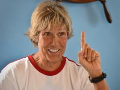 U.S. long-distance swimmer Diana Nyad gestures at the Ernest Hemmingway International Nautical Club in Havana before her new attempt to swim from Havana to Florida on Saturday.