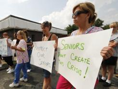 Health care workers and retirees protest proposed cuts to Medicaid, Medicare and Social Security.