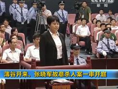 Gu Kailai, the wife of disgraced Chinese politician Bo Xilai, faces the court during her murder trial in Hefei, China, on Aug. 9.