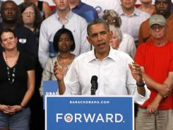 President Obama speaks during a campaign stop in Marshalltown, Iowa, on Tuesday.