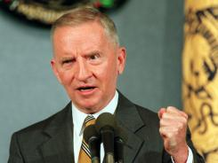 1996 presidential campaign: Reform Party presidential candidate Ross Perot speaks at the National Press Club in Washington.