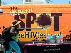 A truck offers free HIV testing on Women's Day in Los Angeles.