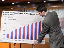 Paul Ryan puts up a chart as he gives the GOP response to President Obama's budget submission for Fiscal Year 2012 in Washington on Feb. 14, 2011.