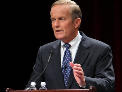 Todd Akin answers a question from the panel during a debate among Republican Senate candidate hopefuls in St. Charles, Mo., on June 11, 2011.