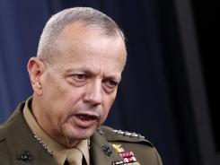 Marine Gen. John R. Allen, commander of the International Security Assistance Force, speaks during a news conference at the Pentagon on May 23.