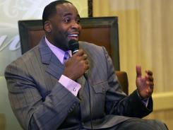Former Mayor of Detroit Kwame Kilpatrick speaks at a no-holds bar interview hosted by Vickie Thomas and the Detroit Chapter of the National Association of Black Journalists at the St. Regis Hotel in Detroit.