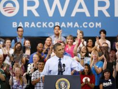 Nevada a battleground state: President Obama speaks Wednesday during a campaign stop in North Las Vegas.