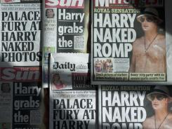 An arrangment of British daily newspapers photographed in London on Thursday shows the front-page headlines and stories regarding nude pictures of Britain's Prince Harry.