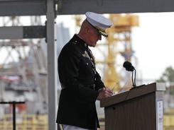 Lt. Gen. Richard Mills speaks during christening ceremonies for the USS Somerset at the Huntington Ingalls Industries shipyard in Avondale, La.