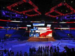 The stage and podium for the 2012 Republican National Convention in Tampa.