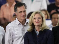 Republican presidential candidate, Mitt Romney and his wife Anne, attend a rally in Pompano Beach, Fla., Jan. 29.